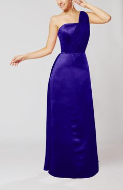 Electric Blue Simple Sheath Sleeveless Satin Floor Length Wedding Guest Dresses
