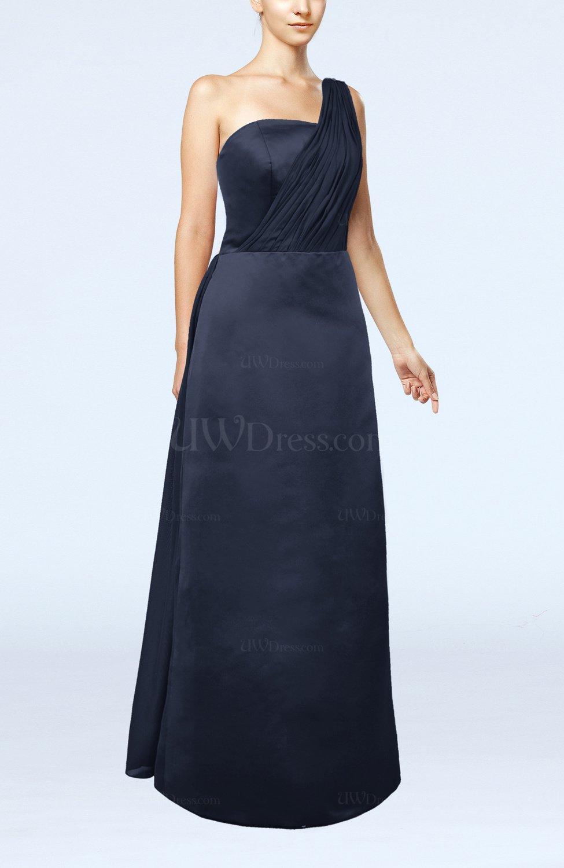 Navy blue simple sheath sleeveless satin floor length for Navy blue dress wedding guest