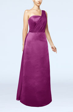 Raspberry Simple Sheath Sleeveless Satin Floor Length Wedding Guest Dresses