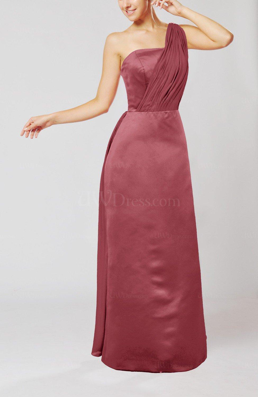 Wine Simple Sheath Sleeveless Satin Floor Length Wedding Guest Dresses