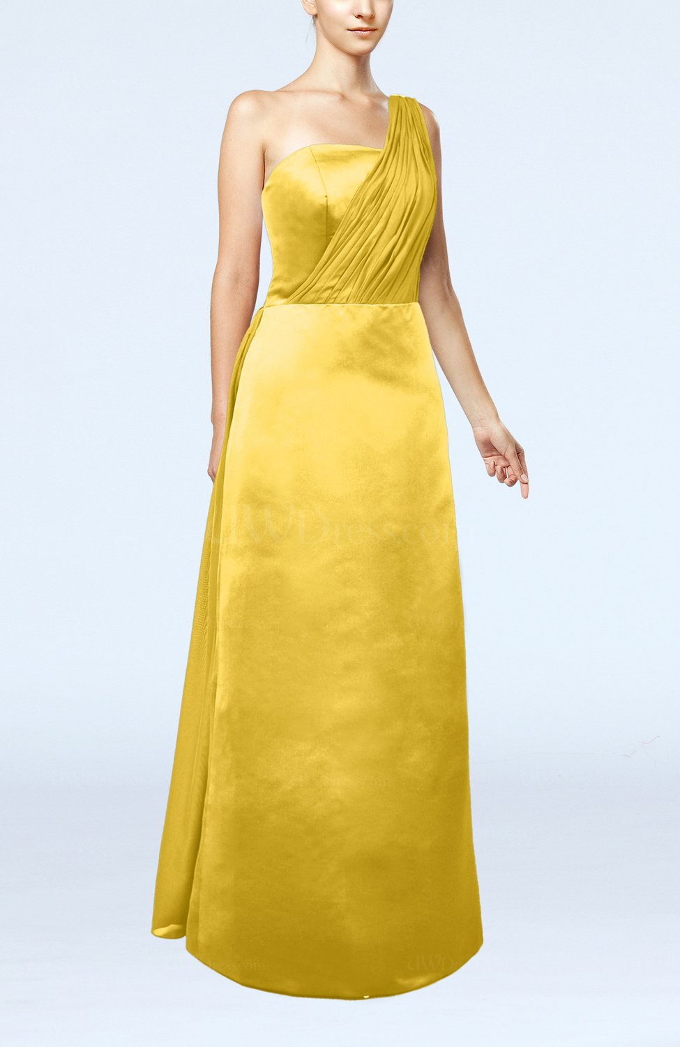 Yellow simple sheath sleeveless satin floor length wedding for Yellow dresses for wedding guests