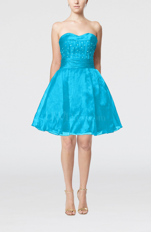Cornflower Blue Cute Sleeveless Zipper Organza Knee Length Sequin Prom Dresses - UWDress.com