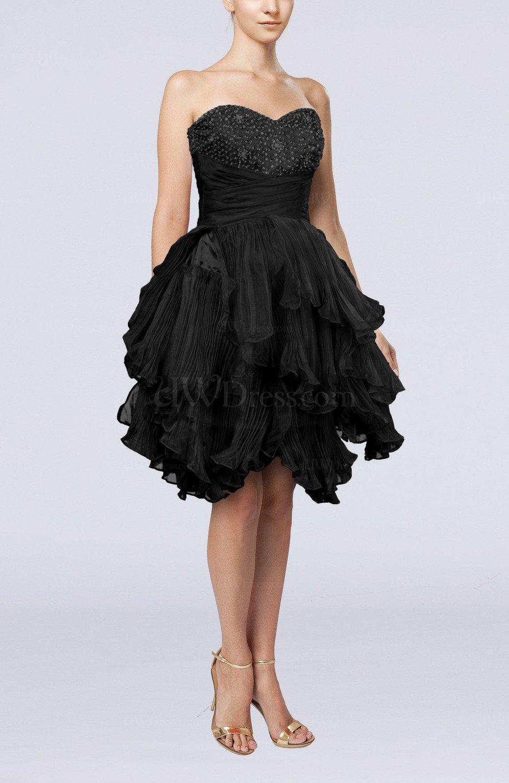 Black Modern Sweetheart Sleeveless Zip Up Knee Length
