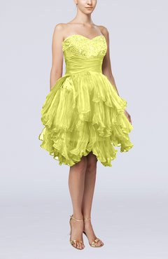 Yellow Modern Sweetheart Sleeveless Zip up Knee Length Pleated Prom Dresses