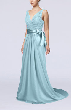 Aqua Elegant A-line V-neck Sleeveless Chiffon Ruching Bridesmaid Dresses