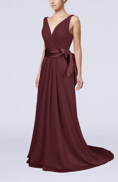 Burgundy Elegant A-line V-neck Sleeveless Chiffon Ruching Bridesmaid Dresses