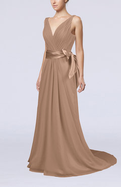 Burnt Orange Elegant A-line V-neck Sleeveless Chiffon Ruching Bridesmaid Dresses