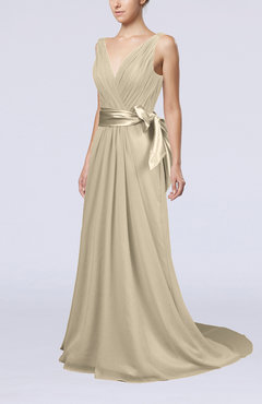 Champagne Elegant A-line V-neck Sleeveless Chiffon Ruching Bridesmaid Dresses