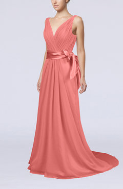 Coral Elegant A-line V-neck Sleeveless Chiffon Ruching Bridesmaid Dresses