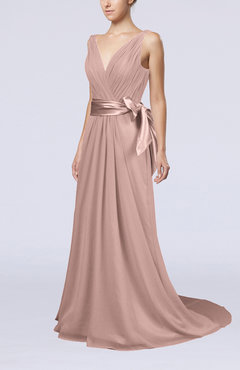 Dusty Rose Elegant A-line V-neck Sleeveless Chiffon Ruching Bridesmaid Dresses