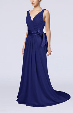 Electric Blue Elegant A-line V-neck Sleeveless Chiffon Ruching Bridesmaid Dresses
