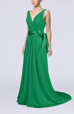 Green Elegant A-line V-neck Sleeveless Chiffon Ruching Bridesmaid Dresses
