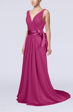 Hot Pink Elegant A-line V-neck Sleeveless Chiffon Ruching Bridesmaid Dresses
