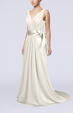 Ivory Elegant A-line V-neck Sleeveless Chiffon Ruching Bridesmaid Dresses