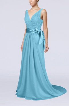Light Blue Elegant A-line V-neck Sleeveless Chiffon Ruching Bridesmaid Dresses