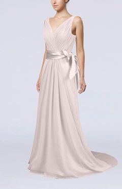 Light Pink Elegant A-line V-neck Sleeveless Chiffon Ruching Bridesmaid Dresses