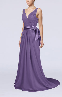 Lilac Elegant A-line V-neck Sleeveless Chiffon Ruching Bridesmaid Dresses