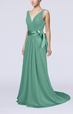 Mint Green Elegant A-line V-neck Sleeveless Chiffon Ruching Bridesmaid Dresses