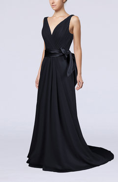 Navy Blue Elegant A-line V-neck Sleeveless Chiffon Ruching Bridesmaid Dresses