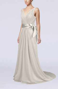 Off White Elegant A-line V-neck Sleeveless Chiffon Ruching Bridesmaid Dresses