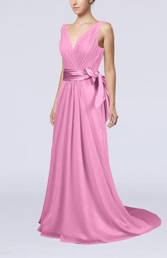 Pink Elegant A-line V-neck Sleeveless Chiffon Ruching Bridesmaid Dresses
