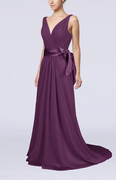 Raspberry Elegant A-line V-neck Sleeveless Chiffon Ruching Bridesmaid Dresses