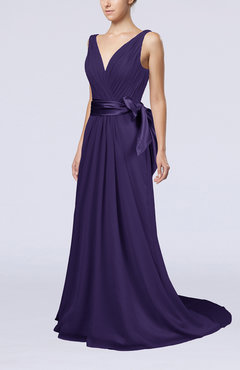 Royal Purple Elegant A-line V-neck Sleeveless Chiffon Ruching Bridesmaid Dresses