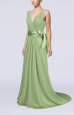 Sage Green Elegant A-line V-neck Sleeveless Chiffon Ruching Bridesmaid Dresses
