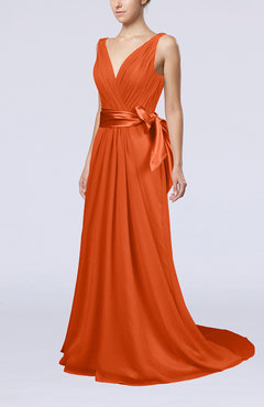 Tangerine Elegant A Line V Neck Sleeveless Chiffon Ruching Bridesmaid Dresses