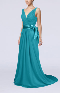 Teal Elegant A-line V-neck Sleeveless Chiffon Ruching Bridesmaid Dresses