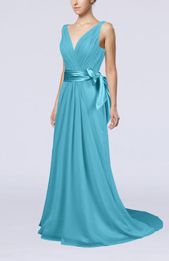 Turquoise Elegant A-line V-neck Sleeveless Chiffon Ruching Bridesmaid Dresses
