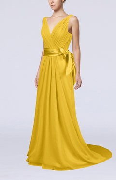 Yellow Elegant A-line V-neck Sleeveless Chiffon Ruching Bridesmaid Dresses