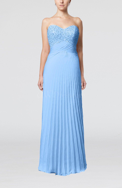 Light blue elegant column sweetheart sleeveless backless for Elegant guest wedding dresses
