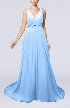 Light Blue Elegant Garden A-line Sleeveless Backless Chapel Train Bridal Gowns