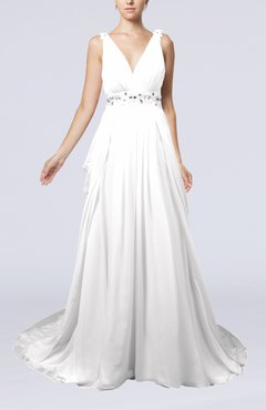 White Elegant Garden A-line Sleeveless Backless Chapel Train Bridal Gowns