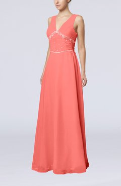 Coral Elegant Column Sleeveless Floor Length Beaded Bridesmaid Dresses