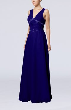 Electric Blue Elegant Column Sleeveless Floor Length Beaded Bridesmaid Dresses