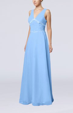 Light Blue Elegant Column Sleeveless Floor Length Beaded Bridesmaid Dresses