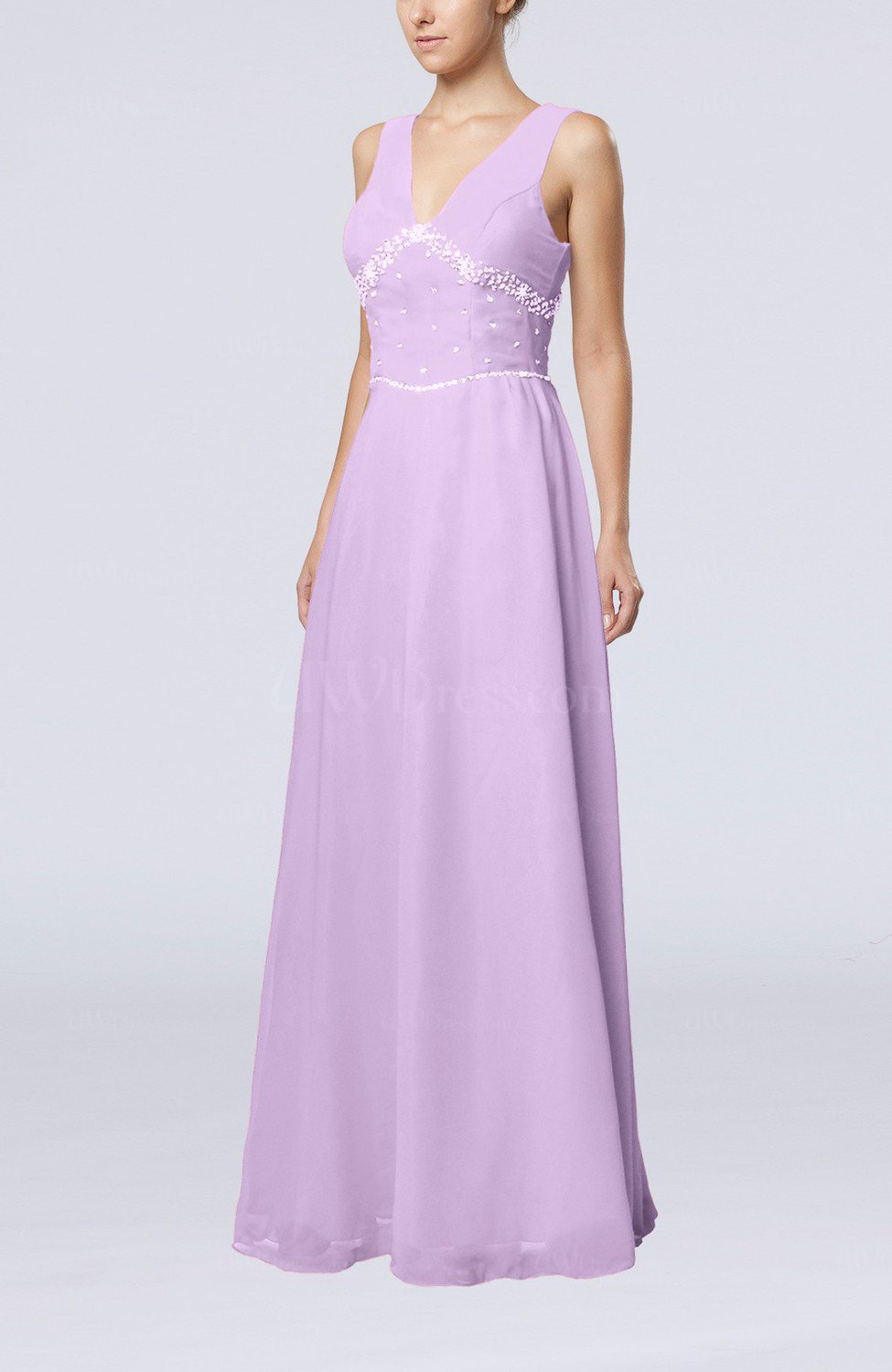 Light purple elegant column sleeveless floor length beaded for Light purple wedding dress