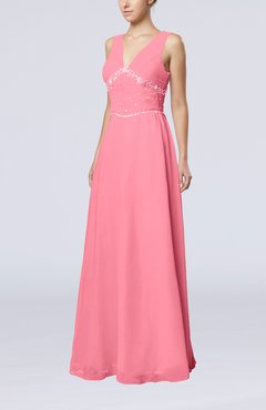 Pink Elegant Column Sleeveless Floor Length Beaded Bridesmaid Dresses