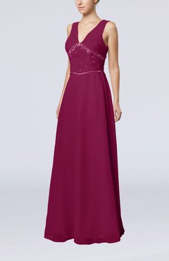 Raspberry Elegant Column Sleeveless Floor Length Beaded Bridesmaid Dresses