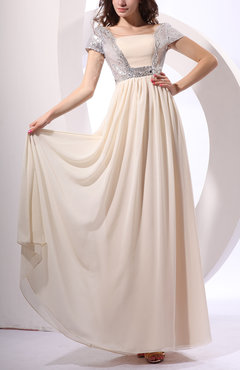 Cream Gorgeous Column Queen Anne Zip up Chiffon Paillette Prom Dresses