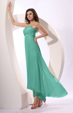 Mint Green Sexy Spaghetti Sleeveless Zip up Ruching Evening Dresses