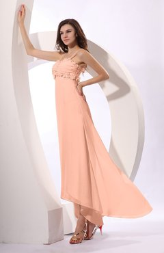 Peach Sexy Spaghetti Sleeveless Zip up Ruching Evening Dresses