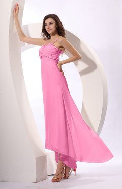 Pink Sexy Spaghetti Sleeveless Zip up Ruching Evening Dresses