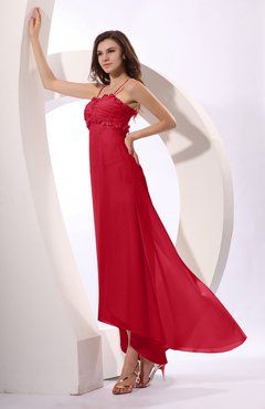 Red Sexy Spaghetti Sleeveless Zip up Ruching Evening Dresses