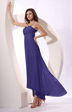 Royal Purple Sexy Spaghetti Sleeveless Zip up Ruching Evening Dresses