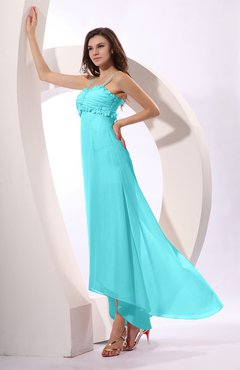 Turquoise Sexy Spaghetti Sleeveless Zip up Ruching Evening Dresses