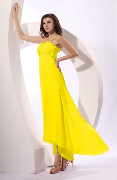 Yellow Sexy Spaghetti Sleeveless Zip up Ruching Evening Dresses