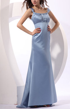 Freesia Traditional Sheath Thick Straps Zip up Satin Ruching Homecoming Dresses